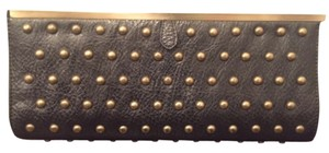 Leather Black with gold studs Clutch