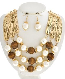 Gold Tone Cream Synthetic Pearl & Brown Wood Necklace & Earrings