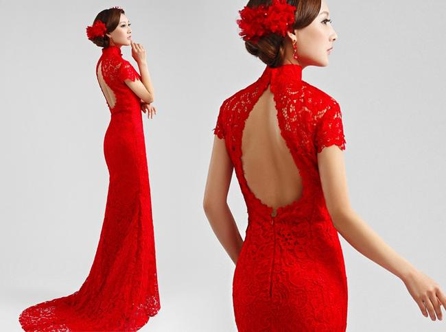 Item - Red Lace Formal Wedding Dress Size 4 (S)