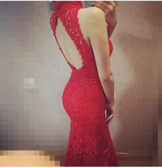 Red Lace Formal Wedding Dress Size 4 (S)