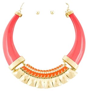 Matte Coral/Orange Acrylic & Clear Rhinestone Choker & Earrings