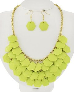 Gold Tone Neon Lime Acrylic Necklace & Earrings