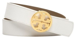 Tory Burch Tory Burch Brand New White/Clay Reversible Logo Belt Size Small