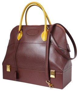 Hermès Vintage Bolide Rare Couchevel Bi-color Bicolor Satchel in Brown, Yellow
