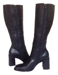Connie Black Knee High Leather Boots