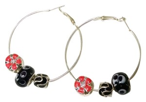 Other New Large Hoop Earrings Removable Murano Glass Beads Charms Pink Black Silver J1204