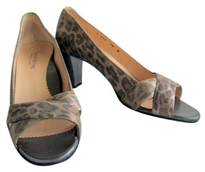 Taryn Rose Leather Italian Animal Print Brown Pumps