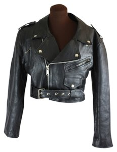 Vintage Moto Cropped Motorcycle Jacket