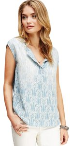 Forever 21 Ikat Chambray T Shirt Light Blue and Cream