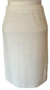 St. John Knit Pull On Skirt ivory