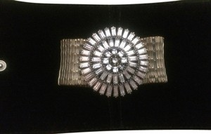 Other Gold Metallic Crystal Embellished Starburst Stretch Bracelet