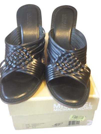 Michael Kors By Mk Sandals Leather black Wedges