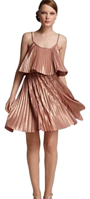 Item - Rose Gold Heritage Pleated Two Tier Above Knee Night Out Dress Size 10 (M)