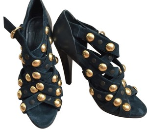 Gucci Studded Strappy Sexy Blue Pumps