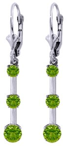 Other 2.5 CT 14k White Gold Green Peridot Dangle Drop Earrings