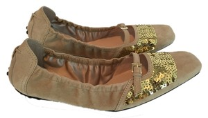 Tod's Suede Mary Jane Sequins Beige Flats