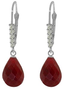 17.6 CT 14K White Gold Diamond & Ruby Dangle Earrings