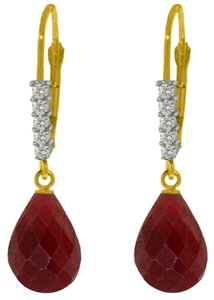 17.6 CT 14K Yellow Gold Diamond & Ruby Dangle Earrings