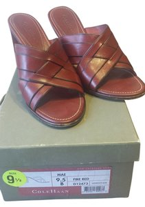 Cole Haan Leather Wedge Red Sandals