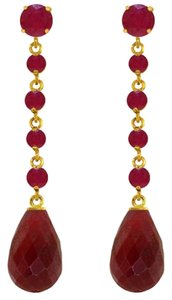 31.6 CT 14K Yellow Gold Red Ruby Chandelier Earrings