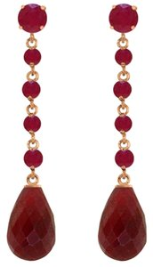 31.6 CT 14K Rose Gold Red Ruby Chandelier Earrings