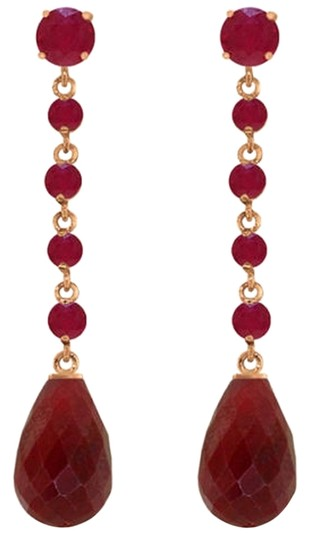 Other 31.6 CT 14K Rose Gold Red Ruby Chandelier Earrings