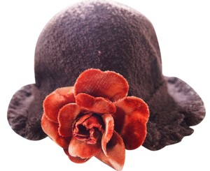 Chanel Chanel Brown Wool Hat with Velvet Camellia Flower