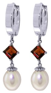 9.5 CT 14K White Gold Natural Pearl and Garnet Earrings