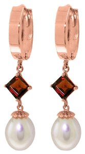 9.5 CT 14K Rose Gold Natural Pearl and Garnet Earrings