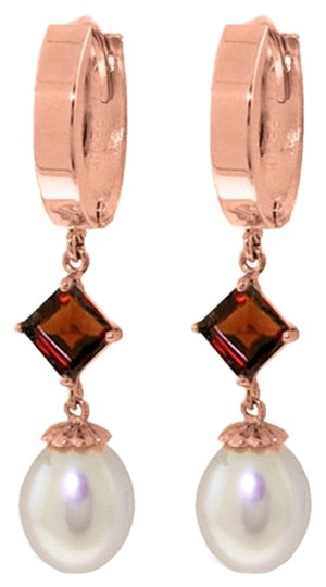 Other 9.5 CT 14K Rose Gold Natural Pearl and Garnet Earrings