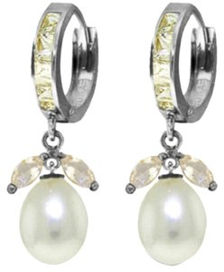 10.3 CT 14K White Gold Natural White Topaz and Pearl Earrings