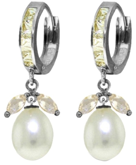 Other 10.3 CT 14K White Gold Natural White Topaz and Pearl Earrings