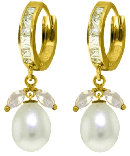 Other 10.3 CT 14K Yellow Gold Natural White Topaz and Pearl Earrings