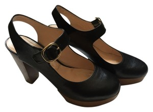 Robert Clergerie Mary Jane Platform Wooden Heel Black Pumps