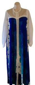 Multi Blues and White flower printed Maxi Dress by