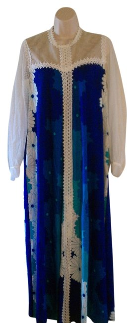 Multi Blues and White flower printed Maxi Dress by Other