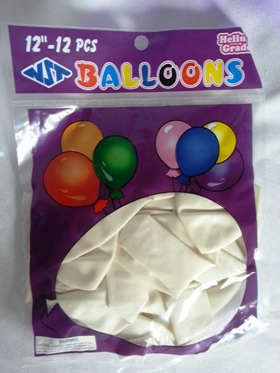 "10 Packages Of 12 White 12"" Balloons"