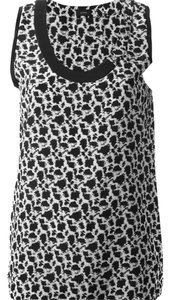 Joseph Print Vest Scoop Neck Luxury Top Black and White