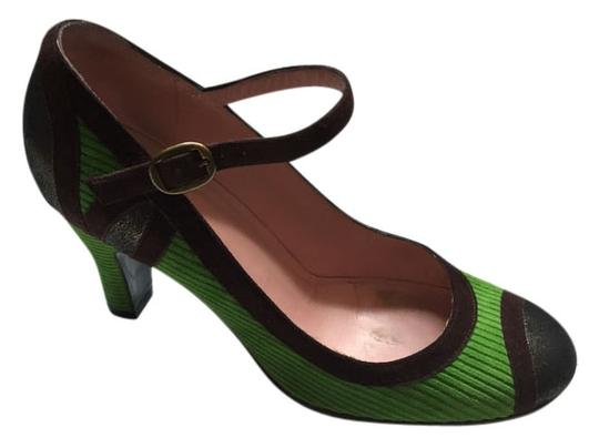 Marc Jacobs Mary Jane Toe Courduroy Suede Green brown and bronze metallic cap toes Pumps