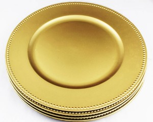 On Sale! 120 Count - Gold Charger Plates With Elegant Beaded Accent