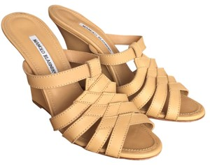 Manolo Blahnik Nude Wedges