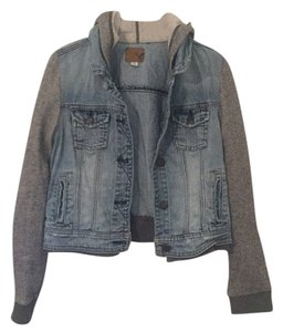 American Eagle Outfitters Medium Rinse Denim/Heather Gray Womens Jean Jacket