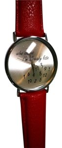 New Watch Who Cares I'm Already Late Red Silver J1205