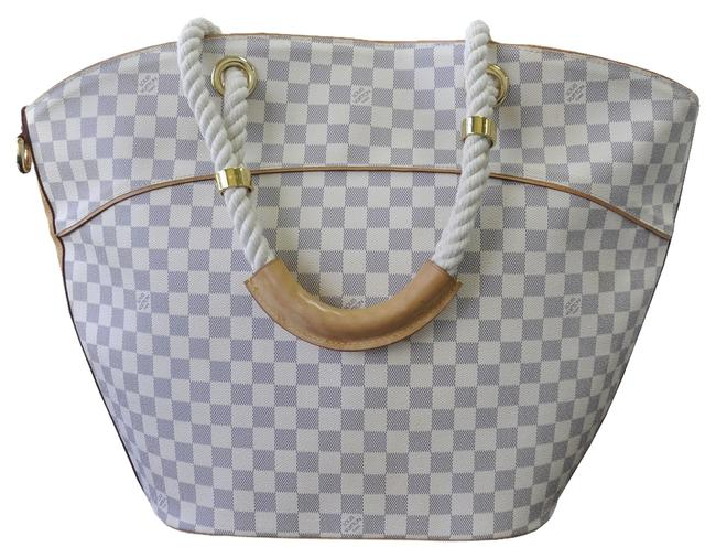 Item - Pampelonne Gm Damier Azur Tote Handbag White Canvas Beach Bag