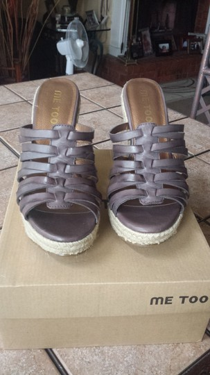 Me Too Wedges Leather Platform Hidden Platforn Brown Sandals