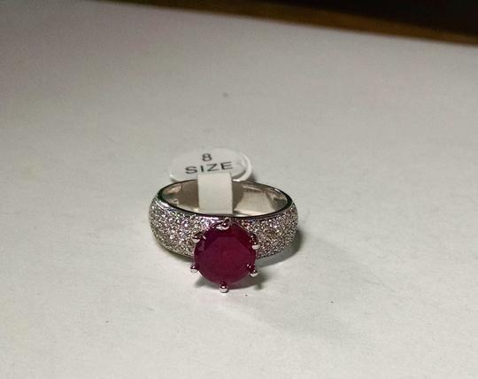 Other New Dark Pink Topaz Gemstone Ring Silver Plated Size 8 J1210