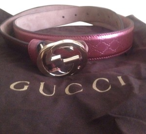 Gucci Women's Gucci GG Pink Leather belt