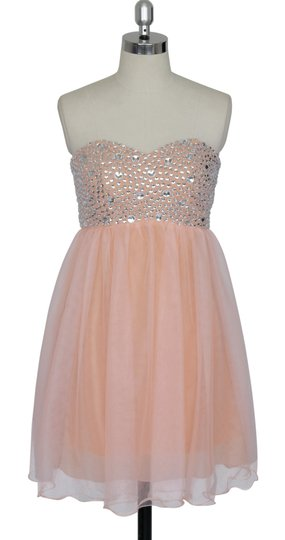 Peach Chiffon Crystal Beads Bodice Sweetheart Short Feminine Bridesmaid/Mob Dress Size 12 (L)