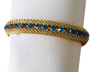 Bracelet Faux Woven Gold with Aquamarine Stones