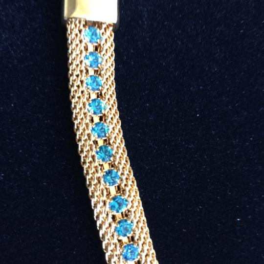 Other Bracelet Faux Woven Gold with Aquamarine Stones